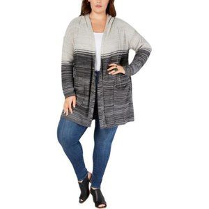Style & Co Plus Size Ombré Hooded Cardigan, 3X